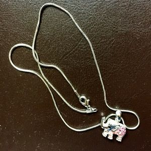 Jewelry - Silver necklace with elephant pendant